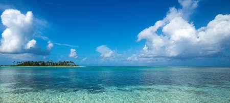 Perfect tropical island paradise beach Maldives, panorama format