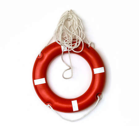 Red lifebuoy isolated over white background
