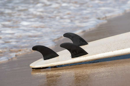 surfboard fin: surfboards lays on the tropical beach Stock Photo