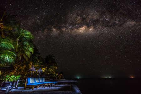 paysage avec voie lactée ciel nocturne avec des étoiles et des glaces Banque d'images
