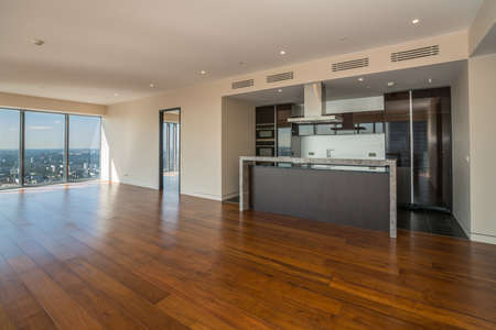 Empty  interior apartament with panoramic city view.