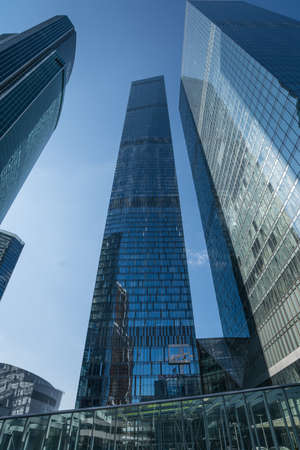 MOSCOW - AUGUST 31, 2017: Futuristic view of Moscow-City skyscrapers. Moscow-City (Moscow International Business Center) is a modern commercial district in central Moscow. Editorial