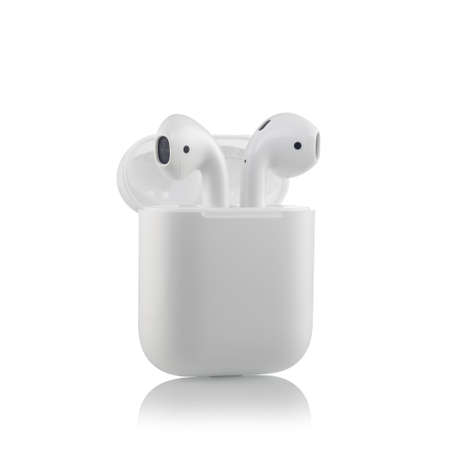 MOSCOW, RUSSIA - OCTOBER 07, 2017: Apple AirPods wireless Bluetooth headphones unboxing with a microphone for the New Apple iPhone. New Apple Earpods Airpods in box.