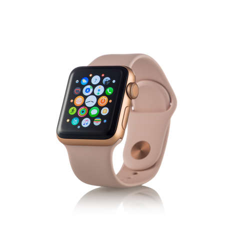 MOSCOW, RUSSIA - OCTOBER 07, 2017: New Apple Watch Series 3 Gold Aluminum Case Pink Sand Sport Band activity app on the display.  Isolated on white background. Apple Watch incorporates fitness tracking and health-oriented capabilities and integration with