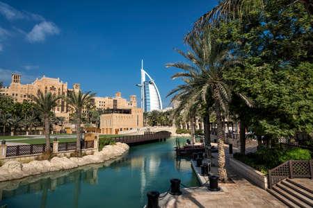 DUBAI,UAE - jANUARY 05,2018::Panoramic view of the Madinat Jumeirah in Dubai with palms tree.Madinat Jumeirah houses three iconic hotels in Dubai, also including Mina Salam and Burj al Arab