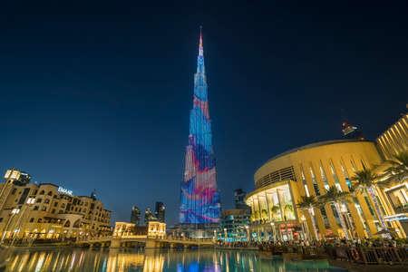 DUBAI,UAE - jANUARY 06,2018: Burj Khalifa skyscraper in the night,Dubai.Burj Khalifa is the tallest skyscraper in the world standing at 829.8m in Dubai