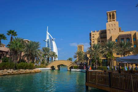 DUBAI,UAE - jANUARY 05,2018: Panoramic view of the Madinat Jumeirah in Dubai with palms tree.Madinat Jumeirah houses three iconic hotels in Dubai, also including Mina Salam and Burj al Arab Editorial