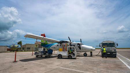 MAHE, SEYCHELLES - OCTOBER 4, 2018: Air Seychelles Plane at Mahe airport in Seychelles. Air Seychelles operates 160 domestic flights a week throughout the archipelago. Redakční