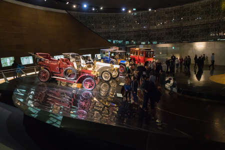 STUTTGART, GERMANY - DECEMBER 30, 2018: Interior of museum Mercedes Benz Welt. The museum covers the history of the Mercedes-Benz and the brands associated. Editorial