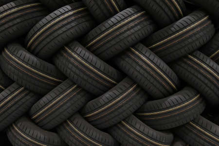 Stack of car tires with shadow deep of view. Great for backgrounds