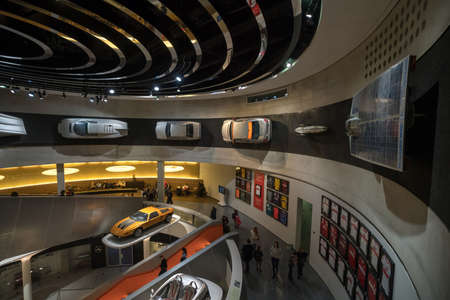 STUTTGART, GERMANY - DECEMBER 30, 2018: Interior of museum Mercedes Benz Welt. The museum covers the history of the Mercedes-Benz and the brands associated. Redactioneel