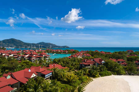 View of Eden Island Mahe Seychelles at sunny weather Stockfoto - 126288366