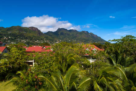View of Eden Island Mahe Seychelles at sunny weather Stockfoto - 126288372