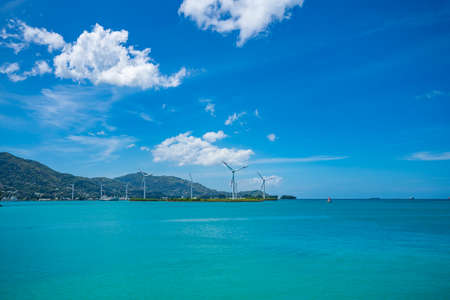 The Seychelles. View of the ocean from the island Mahe. Wind turbines Stockfoto - 126288387