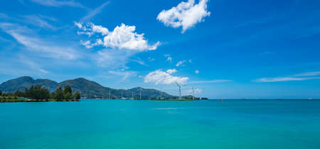 The Seychelles. View of the ocean from the island Mahe. Wind turbines