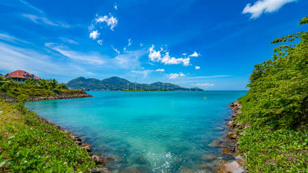 View of Eden Island Mahe Seychelles at sunny weather Stockfoto