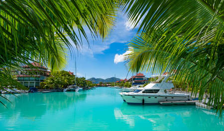A beautiful view of marina at Eden Island Mahe Seychelles Stockfoto