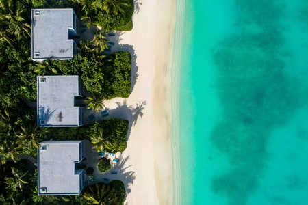 Aerial view of beautiful island at Maldives in the Indian Ocean. Top view from drone. Stockfoto - 127762553