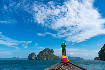 Landscape with longtail boat on andaman sea in summer vacation, Krabi Thailand