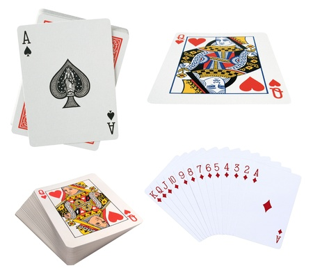 king and queen of hearts: Playing cards isolated on a white background Stock Photo