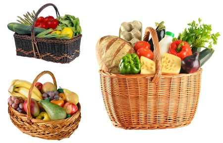 fruits basket: Basket with food isolated on white background Stock Photo