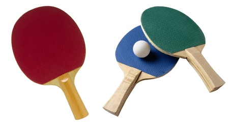 Accessories for table tennis isolated on white background photo