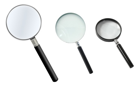 lupe: Magnifier isolated on white background Stock Photo