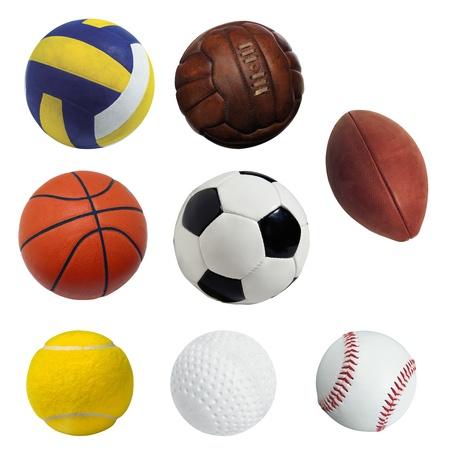 balones deportivos: Deportes de pelota aislados sobre fondo blanco