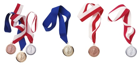 silver medal: medal isolated on white background Stock Photo