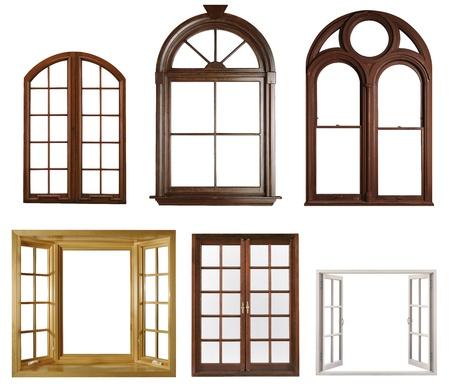 ventana abierta: Ventanas aisladas sobre fondo blanco