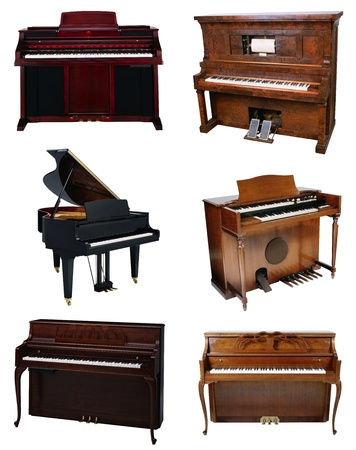 upright piano: Piano isolated on a white background Stock Photo