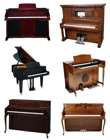 fortepian: Piano na białym tle Zdjęcie Seryjne