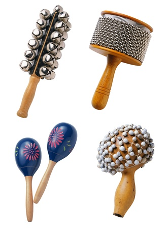 maracas: Percussion musical instrument isolated on white background Stock Photo