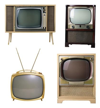 television antigua: televisor viejo aislado en un fondo blanco Foto de archivo
