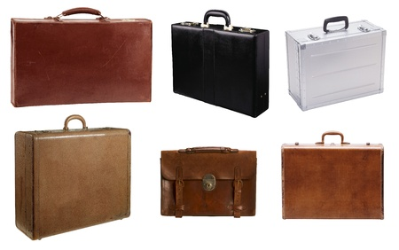 of yesteryear: Suitcase isolated on a white background Stock Photo