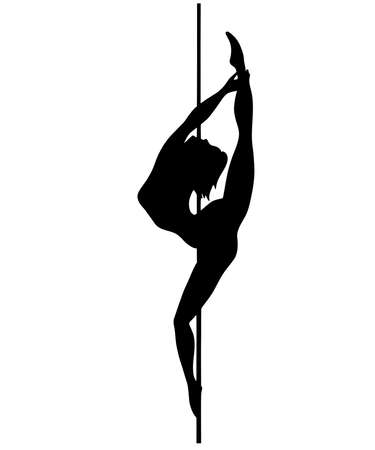 Vector silhouette of girl and pole on a white background. Pole dance illustration for fitness, striptease dancers, exotic dance. Vector illustration for logotype, badge, icon, logo, banner and tag.