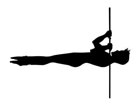 Man pole dance is element shoulder mount. Black scetched silhouette on a white background. Pole dance vector illustration. Clipart dancer for logotype, badge, icon, logo, banner, tag, clothes Vettoriali