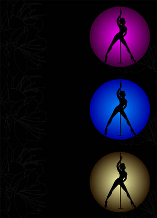 Three Flyers with Vector silhouette of girl and pole on a magenta, blue, yellow circle. Pole dance illustration for design. Vector illustration EPS10 on black background with flowers texture