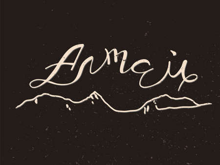 hand lettering Altai in Russian and the silhouette of the mountains 일러스트