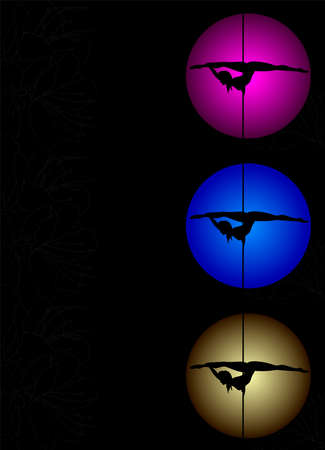 Three Flyers with Vector silhouette of girl and pole on a magenta, blue, yellow circle. Pole dance illustration for design. Vector illustration on black background with flowers texture.