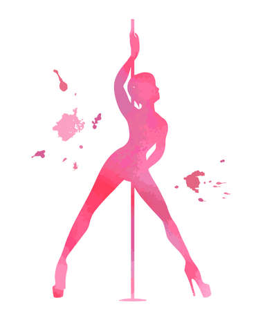 Vector silhouette pole dance with watercolor texture on a white background. Hand scketch exotic dance vector illustration. Pink isolated clipart for logotype, badge, icon, logo, banner, tag, clothes