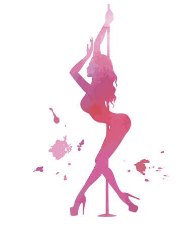 Vector silhouette pole dance with watercolor texture on a white background. Hand sketch exotic dance vector illustration. Pink isolated clip art for badge, icon, banner, tag, clothes. Illustration