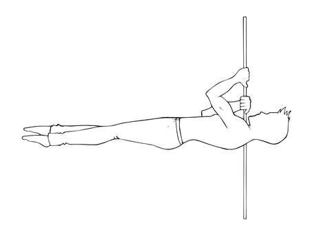 L'uomo pole dance è un elemento a spalla. linea scetched silhouette su uno sfondo bianco. Illustrazione vettoriale di pole dance. Ballerino di clipart per logotipo, distintivo, icona, logo, banner, tag, vestiti