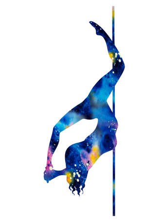 silhouette of girl and pole on a white background. Pole dance illustration for striptease dancers, exotic. Clipart with texture watercolor cosmos for logotype, badge, icon, logo, banner, tag, clothes Stock Photo