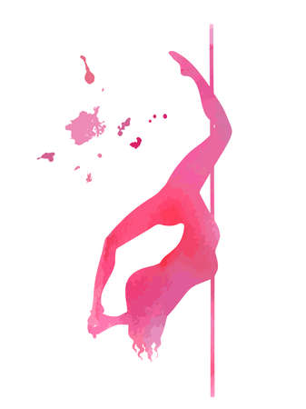 vector pole dance element cocoon pink silhouette Illustration