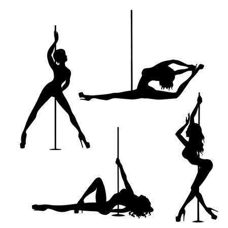 set of silhouette pole dance exotic 矢量图像