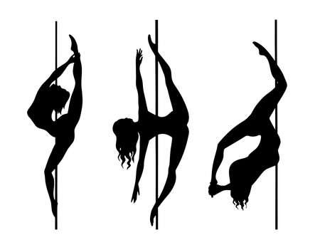 set of silhouette pole dance
