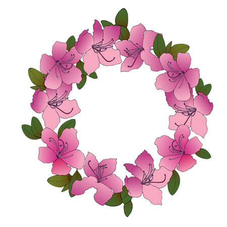 Hand sketched wreath of rhododendron Ledebour. Vector illustration of pink flowers with green leaves. Isolated composition of maralnik for postcard, print, decoration, backgrond. endemic of Altai