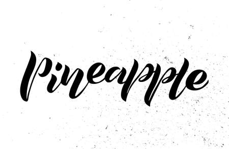 handwritten lettering of pineapple. Isolated text ananas for label, menu, icon with texture. Black line sketched hand painted fruits on white background.