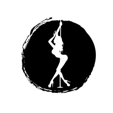 white silhouette pole dance on a black spot on a white background. It is pole dance vector illustration. Clipart for logotype, badge, icon, logo, banner, tag, clothes